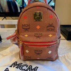 MCM Stark Bebe Boo Backpack In Skyoptic Visetos